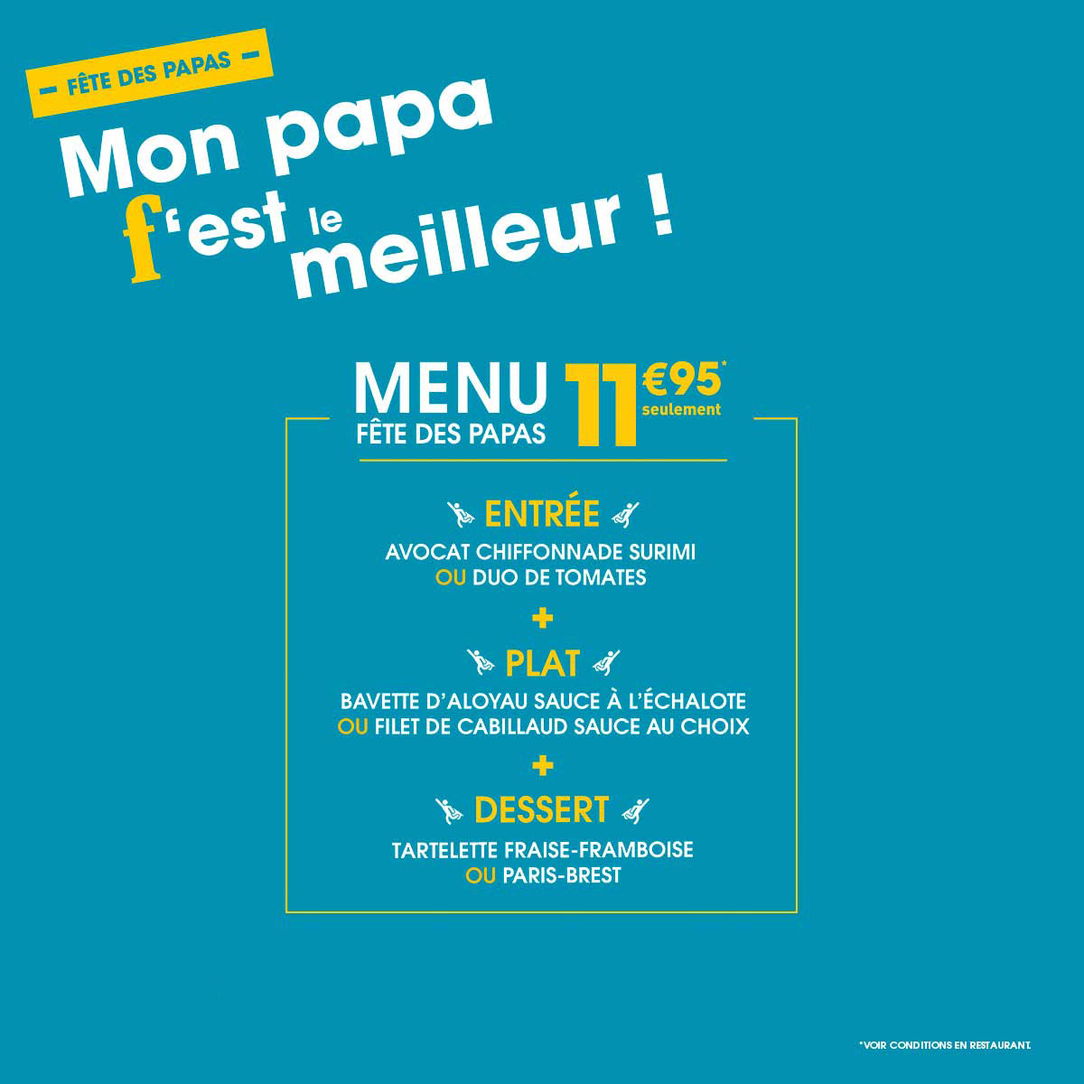 menu de fête des pères flunch 2017